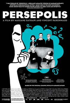 """""""Persepolis"""" animated-film poster - 2007, directed by Marjane Satrapi and Vincent Paronnaud - won Prix du Jury Cannes 2007 - watched Feb 12"""