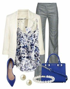 Love the top, jewelry, and the off white blazer....have grey pants already.