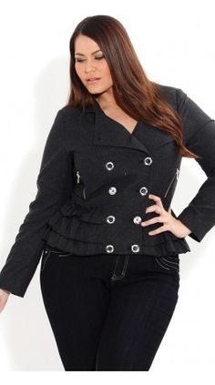 f75e912d4f7 Cropped Frill Hem Jacket Plus Size Clothing Stores