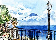 'Sketching Italy Sorrento View On Volcano Vesuvius' - http://irina-sztukowski.artistwebsites.com/featured/sketching-italy-sorrento-view-on-volcano-vesuvius-irina-sztukowski.html