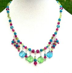 Apatite, Peridot, Gemstones, and Swarovski Crystals Necklace, Matching Earrings