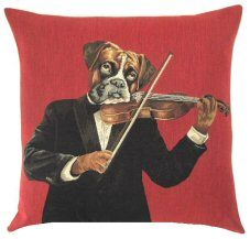 Musician Violin Dog Belgian Tapestry Cushion http://www.abentleycushions.co.uk/detail.asp?pID=2318