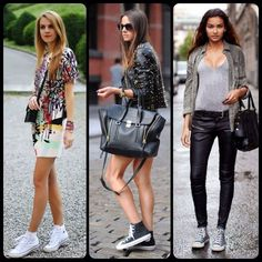 As you will see, sneakers look good with jeans, shorts trousers, leggings, skirts. Also the dresses are not exception, including both the mini and maxi style of dress. And if you want to achieve a rock and roll look, combine your converse sneakers with leather pieces of cloth.  Add more fun to your overall looks by associating your favorite sneakers with Shoe String King cool shoelaces. Grab a pair now at www.ShoeStringKing.com!  #SSKfemale #black #white #converse #sneakers #leggings #dress