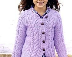 Child's Cable Cardigan Aran Knitting Pattern Round & V-neck Cardigans years Aran Cable Aran Knitting Patterns, Christmas Knitting Patterns, Cable Cardigan, Cardigan Pattern, Knitting For Kids, Baby Knitting, Yarn Brands, Vintage Knitting, Baby Sweaters