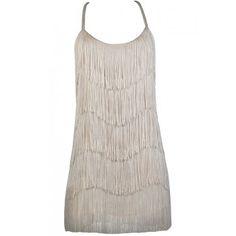 Beige Fringe Dress, Cute Party Dress, Roaring 20s Dress, Great Gatsby Dress