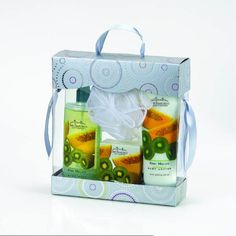 San Francisco Soap Company Bath and Body Gift Boxed 4 Piece Set (Kiwi Melon) by San Francisco Soap Company. $15.00. Body Mist 6.5 Oz. 8.75 Fl Oz Body Lotion. MADE IN USA. Bath Pouf. 3.5 Fl Oz Bar Soap. Bath & Body Gift Set containing a sweet, exotic fruity fragrance of Kiwi Melon Body Lotion, Body Mist, Bar Soap & Bath Pouf.