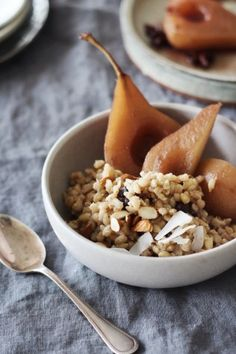 Photo: by Kate Olsson, of Finger, Fork & Knife. Pearl Barley + Almond Milk Porridge with Spiced Poached Pears. We've gathered 10 gorgeous recipes to start a new year of mornings off beautifully. They're really special surprises. Brunch Recipes, Breakfast Recipes, Eat Breakfast, Almond Milk Recipes, Pearl Barley, Poached Pears, Just In Case, Food Photography, Food And Drink