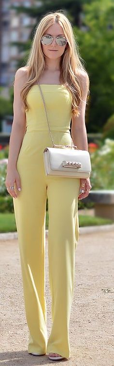 Chic In The City - Asos Yellow Bandeau Palazzo Jumpsuit | ~LadyLuxuryDesigns ❤