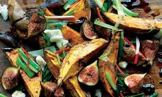 """""""Yotam Ottolenghi's roasted sweet potatoes and [fresh] figs: an unusual but popular combination.""""  Would never in a million years have thought of combining these!!"""