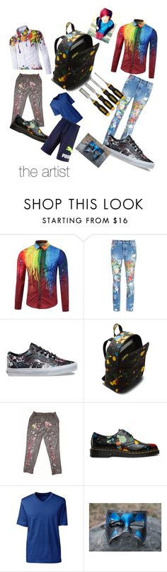 """""""creepypasta oc : The artist"""" by mountaindewqueen15 ❤ liked on Polyvore featuring Palm Angels, Vans, Dr. Martens, Lands' End, DeWalt, Masquerade, Puma, men's fashion and menswear"""