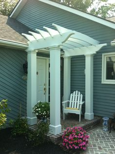 Pergola On Front of House | The front entryway, after.