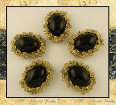 Jewelry Making Beads Flower Framed Black Cabochons with Smoke Swarovski Crystal Elements