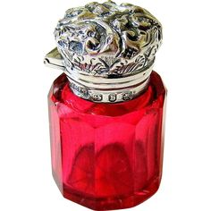 Antique Cranberry Glass Sterling Perfume Bottle