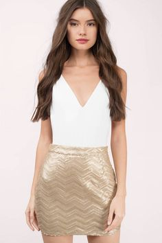 Looking for the Plaits Of Sequins Gold Chevron Mini Skirt? | Find Skirts and more at Tobi! - 50% Off Your First Order - Fast & Free Shipping For All Orders!