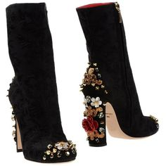 Dolce & Gabbana Ankle Boot - Women Dolce & Gabbana Ankle Boots online on YOOX United States - Short Heel Boots, Short Black Boots, Black Heel Boots, Black Ankle Booties, High Heel Boots, Heeled Boots, Bootie Boots, Shoe Boots, Fringe Ankle Boots