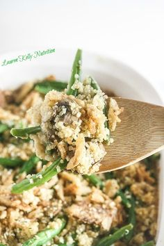 Close up picture of green bean casserole in a white baking dish and a wooden spoon with some casserole on it. Fun Easy Recipes, Delicious Dinner Recipes, Good Healthy Recipes, Skinny Recipes, Superfood Recipes, Holiday Side Dishes, Healthy Eating, Healthy Food, Food Photo