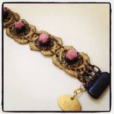 #Glam  #chic lace #bracelet gold lace and #pink by Cristina Cárdenas VICTORIANAS #SPRING