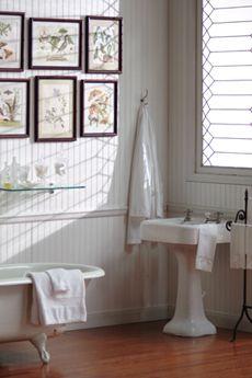 lovely beadboard bathroom with chair rail