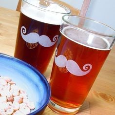 4 Mustache Pint Glasses As seen in REAL SIMPLE by BreadandBadger via Etsy.