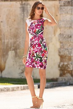 Placed floral cap sleeve dress from Boston Proper on shop.CatalogSpree.com, your personal digital mall.