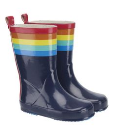 Little Bird by Jools Rainbow Stripe Wellies
