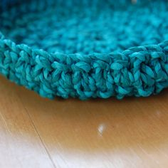 Hand twisted crepe paper crochet bowl - handmade by Louise S.A. Allen