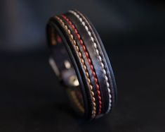 Black leather bracelet thin - Model Night Track
