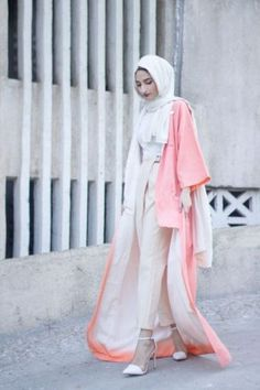 long neon pink abaya hijab- How to wear long cardigan with hijab http://www.justtrendygirls.com/how-to-wear-long-cardigan-with-hijab/