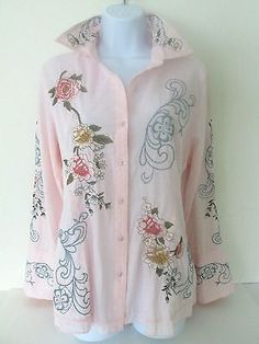 Floral Embroidered Shaped Fitted Shirt XL 100% Cotton Multi-Color by Como No?