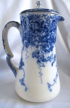 ♥ ~ ♥ Blue and White ♥ ~ ♥ Antique Flow Blue Doulton Large Chocolate Pot Flow Blue China, Blue And White China, Chocolate Pots, Chocolate Coffee, Blue Dishes, White Dishes, White Pitchers, Teapots And Cups, Teacups