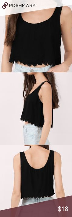 """NWT Tobi Black """"Soft Breeze Crop Top."""" Sz S NEW WITH TAGS Tobi """"Soft Breeze Crop Top."""" Black size small. . Sleeveless tank top with lace lining. Simple and casual but very cute. Wear with high waisted denim shorts and flip flops. Tobi Tops Crop Tops"""