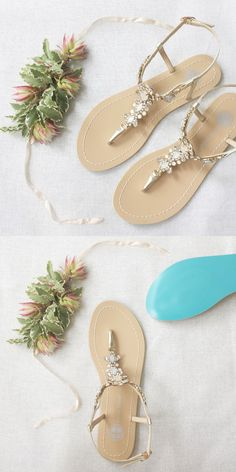 Gold Crystal Jewel Beach Wedding Sandals with Something Blue Sole #weddingsandals