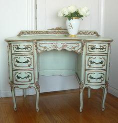 Simply gorgeous early 1900 s desk vanity that is Italian or French in origin Painted its original pale green with gilt highlights it has outstanding detail and carving Note the back splash with hea - Stylehive Furniture, Dream Furniture, Gray Painted Furniture, White French Furniture, Charming House, Pallet Furniture Bedroom, French Painted Furniture, Living Room Inspiration, French Vanity