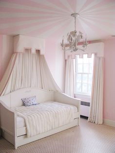 bedroom // pink striped ceiling, canopy day bed