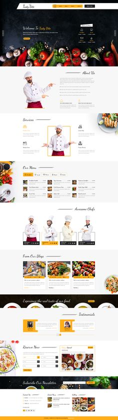 TASTYBITE Food & Restaurant PSD Template TastyBite is a modern and professional Food & Restaurant based PSD template. #webdesign #websiteinspiration