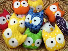 mini owl plush stuffed owl rainbow set of 6 par HeartFeltbyTelah