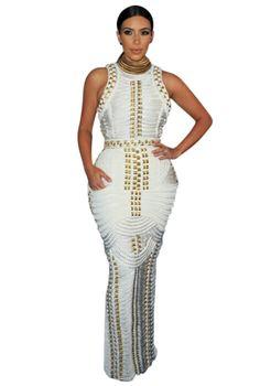 'Kimmy' White and Gold Sleeveless Maxi Bandage #Dress – Glamour Goddess Boutique https://glamourgoddessboutique.com/product/kimmy-white-and-gold-sleeveless-maxi-bandage-dress/