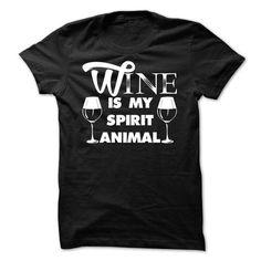 Wine is my spirit animal T Shirts, Hoodies, Sweatshirts. CHECK PRICE ==► https://www.sunfrog.com/LifeStyle/Wine-is-my-spirit-animal-Ladies.html?41382