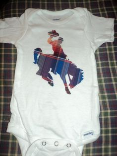 Bucking Bronc Cowboy Baby Onesie. I can so make this!