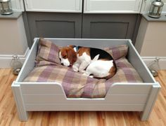 Luxury raised wooden dog bed, with grey tongue & groove panelling, from Chloe & Jeff Handcrafted Dog Beds www.chloeandjeff.com