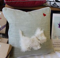 Scottish Terrier Pillow - Cushion with Cute Fluffy Dog and Heart - Neutral Colors