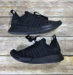 b9ced2467cab0 Adidas NMD R1 STLT PRIMEKNIT Core Triple Black Men s Size 9.5 Boost CQ2391   adidas  AthleticSneakers