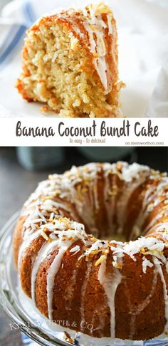Banana & coconut lovers rejoice! AMAZING Banana Coconut Bundt Cake is a banana cake loaded with coconut & drizzled with sweet sugar glaze. Perfect for any occasion- brunch or dessert! You will LOVE this cake!