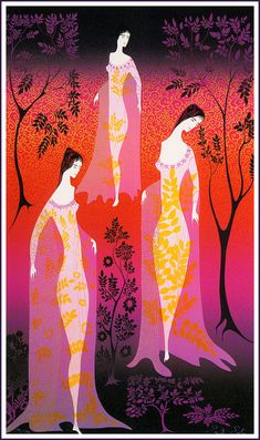 In a gothic garden (1990) by Eyvind Earle.
