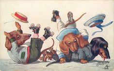 Dogs on roller skates :poss. Arthur Thiele ~ vintage Oilette postcard