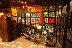 hopsctoch and a Royal Enfield bike evoke nostalgia Design Hotel, Restaurant Design, Enfield Bike, Cafe Design, Fantasy World, Modern Decor, Lighting Design, Interior Architecture, Old Things