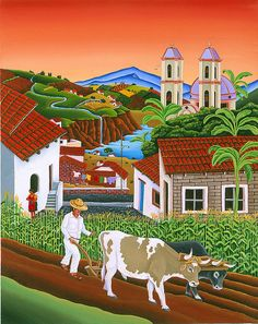 La Milpa Canvas Print by Raul Del Rio. All canvas prints are professionally printed, assembled, and shipped within 3 - 4 business days and delivered ready-to-hang on your wall. Choose from multiple print sizes, border colors, and canvas materials. Mexican Artwork, Mexican Paintings, Latino Artists, Mexico Art, Canvas Art, Canvas Prints, Farm Art, Arte Popular, Naive Art