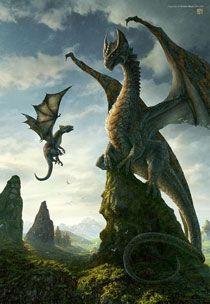 Un drago verde e il suo piccolo