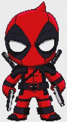Deadpool 2 Ultimate Chibi cross stitch and plastic canvas