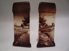 Vintage English Ironstone Vase Set Brown Toile by TroveMagpie